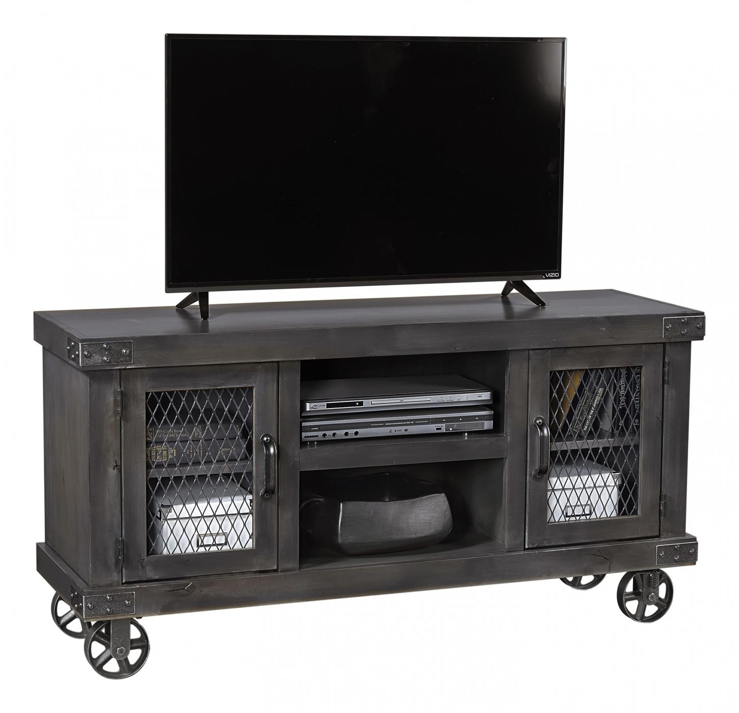 "Industrial 55"" Console in the Ghost Black finish"