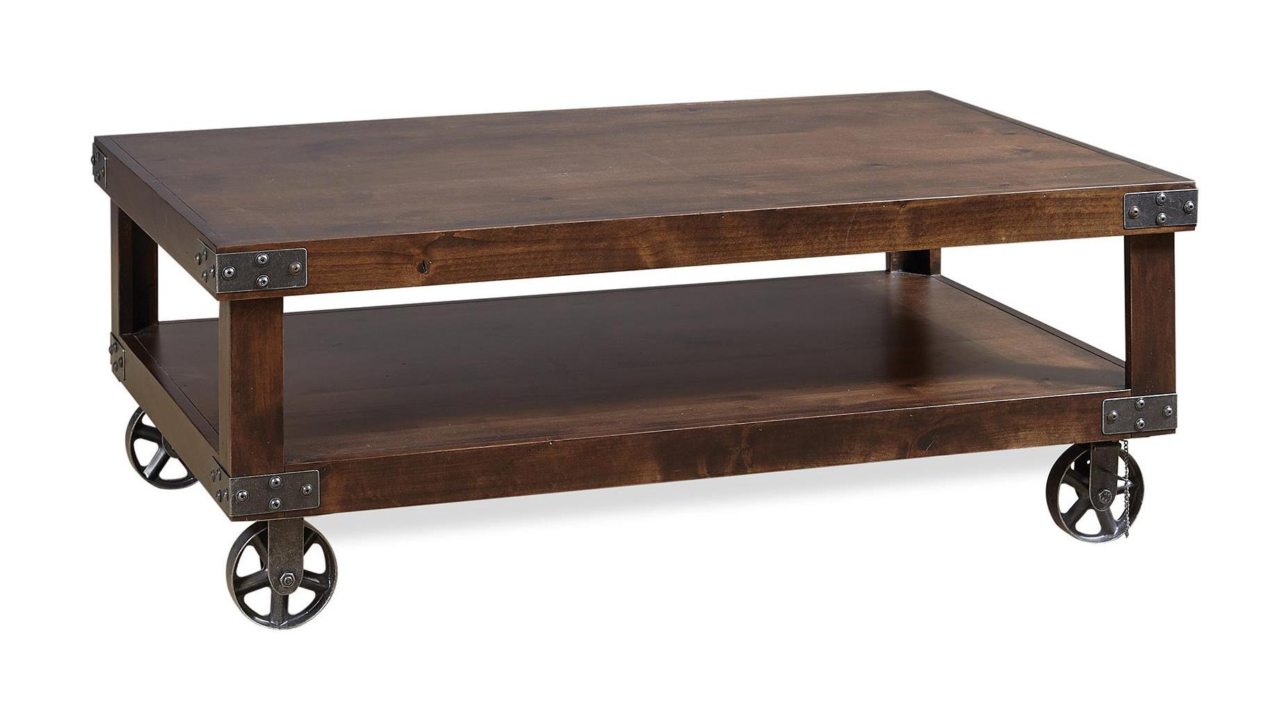 Industrial Cocktail Table in the Tobacco finish